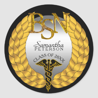 Elegant Laurel Wreath BSN Nursing Degree Caduceus Classic Round Sticker