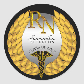 Elegant Laurel Wreath RN Nursing Caduceus Classic Round Sticker