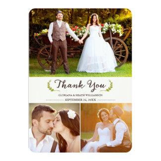 "Elegant Laurels Wedding Thank You Photo Flat Card 5"" X 7"" Invitation Card"