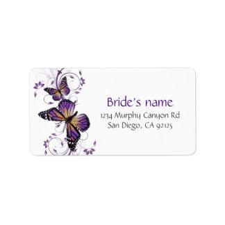Elegant Lavender Butterfly Swirls Address Label