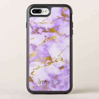 Elegant Lavender Gold Faux Metallic Marble Pattern OtterBox Symmetry iPhone 8 Plus/7 Plus Case