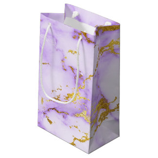 Elegant Lavender Gold Faux Metallic Marble Pattern Small Gift Bag