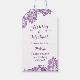 Elegant Lavender Purple Lace Wedding Thank You Pack Of Gift Tags