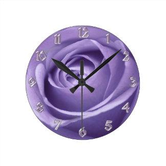 Elegant Lavender Rose Collection Wall Clock