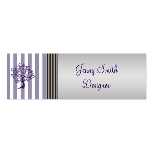 Elegant lavender tree stripes light gray business cards