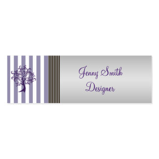 Elegant lavender tree stripes light gray mini business card