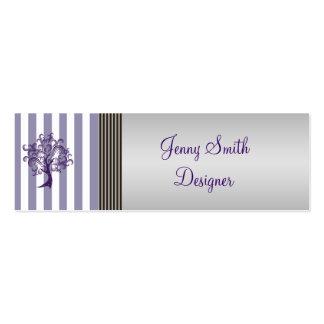 Elegant lavender tree stripes light gray mini business card