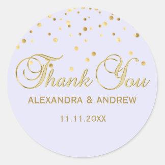 Elegant Lavender Violet Gold Wedding Thank You Classic Round Sticker