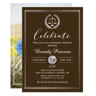 Elegant Law School Brown Graduation Party Photo Card