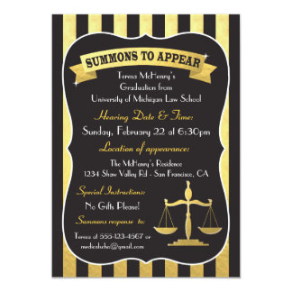 Elegant Law School Graduation Summons Card