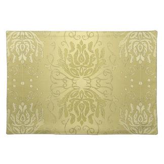 Elegant Layered Gold Floral Damask Placemat