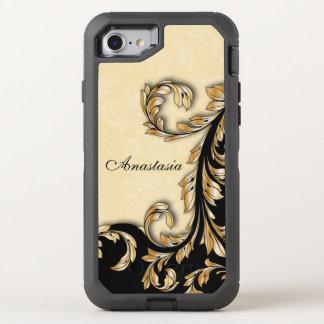 Elegant Layered Style Gold Scrolls OtterBox Defender iPhone 7 Case