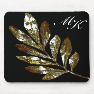 Elegant Leaf Monogram Mousepad
