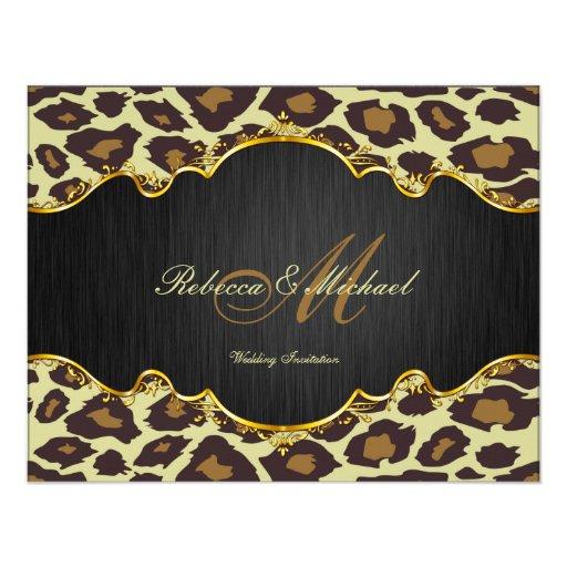 Elegant Leopard and Gold Wedding Invites