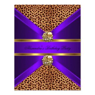 "Elegant Leopard Animal Purple Gold Black Birthday 4.25"" X 5.5"" Invitation Card"