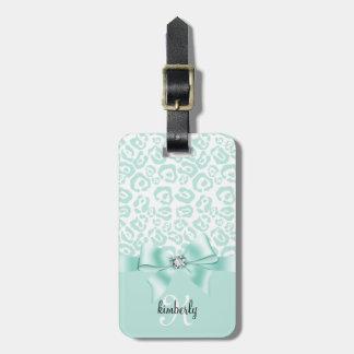 Elegant Leopard Bow & Diamond Personalized Girly Luggage Tag