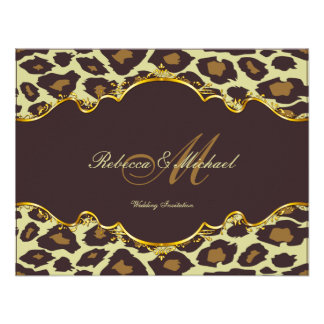 Elegant Leopard Brown and Gold Wedding Invites