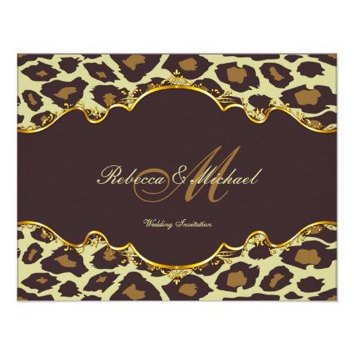 Elegant Leopard Brown and Gold Wedding Invites