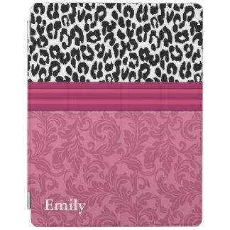 Elegant leopard damas floral  stripes monogram iPad cover