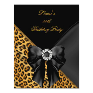 "Elegant Leopard Gold Black Birthday Party 4.25"" X 5.5"" Invitation Card"