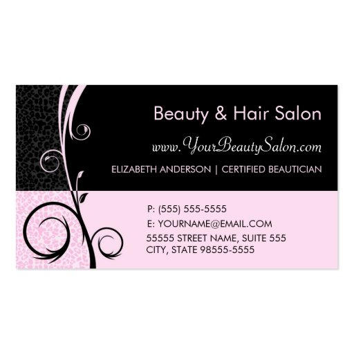 Elegant Leopard Pink and Black Salon Appointment Business Card Templates