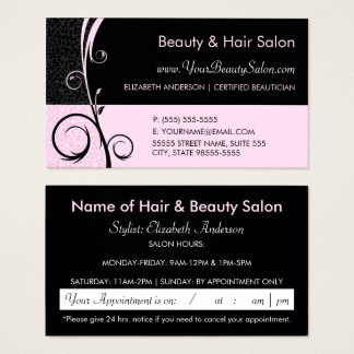 Elegant Leopard Pink and Black Salon Appointment Business Card