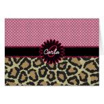 Elegant Leopard Print and Polka Dot Monogram Greeting Cards