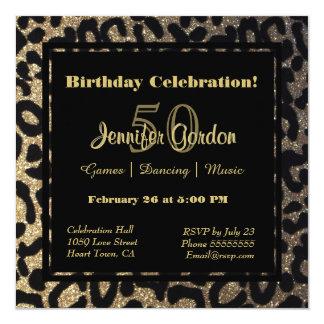 Elegant Leopard Print Glitter Card