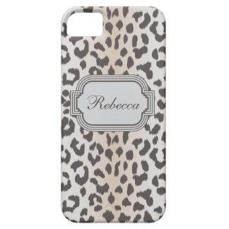 Elegant  leopard print with monogram iPhone 5 cover