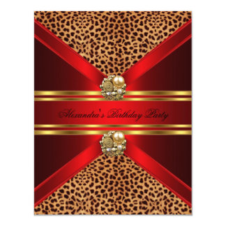 "Elegant Leopard Regal Red Gold Black Birthday 4.25"" X 5.5"" Invitation Card"