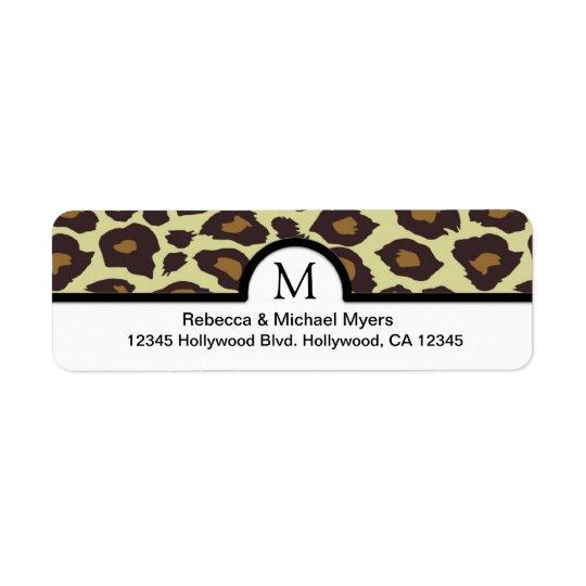 Elegant Leopard Return Labels with Monogram
