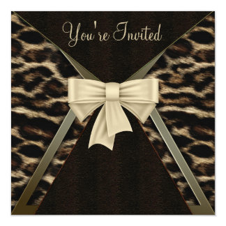 Elegant Leopard Womans Birthday Party Card