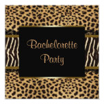 "Elegant Leopard Zebra Bachelorette Party 5.25"" Square Invitation Card"