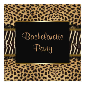 Elegant Leopard Zebra Bachelorette Party Card