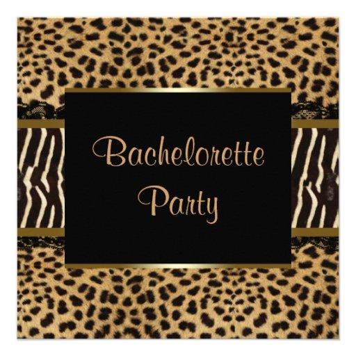 Elegant Leopard Zebra Bachelorette Party Custom Invite