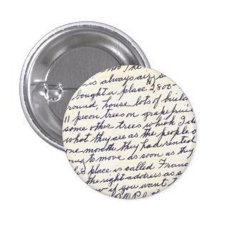 Elegant Letter Handwritten with Love 1 Inch Round Button