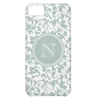 Elegant Letter N Monogram Celadon Damask iPhone 5C Case