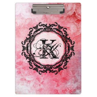 Elegant Letter Pink Floral Rose Pattern Clipboard