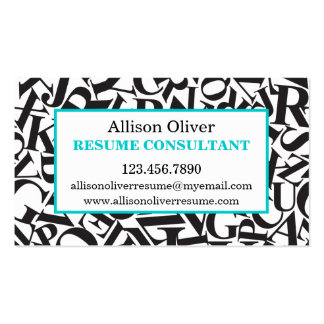 Elegant Letters Resume Consultant Business Card