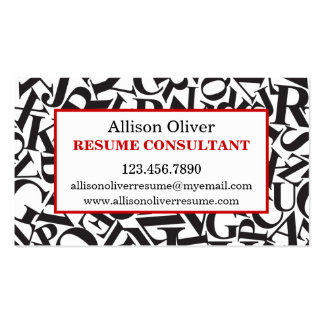 Elegant Letters Resume Consultant Business Card