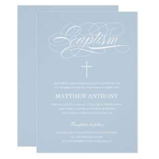 Elegant Light Blue Baptism Christening Card