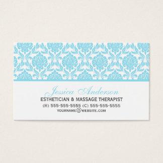 Elegant Light Blue Damask Pattern Business Card