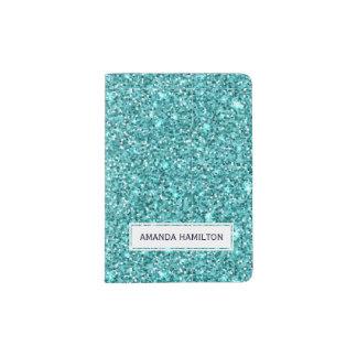 Elegant light blue glitter sparkling add your name passport holder