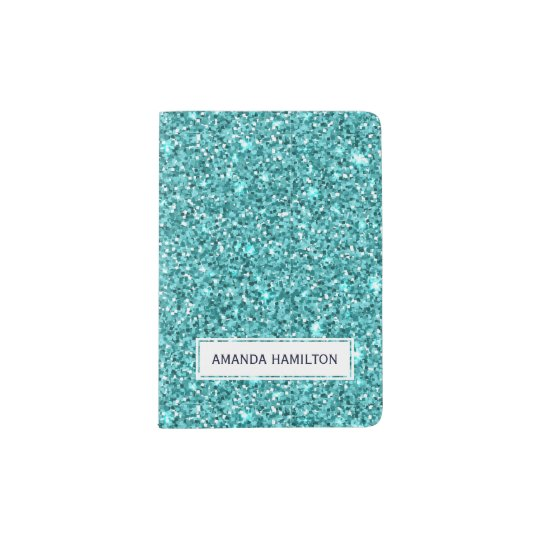 Elegant light blue glitter sparkling add your name passport holder