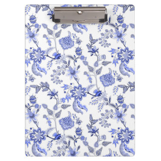 Elegant Light Blue Gray White Floral Chintz Clipboard