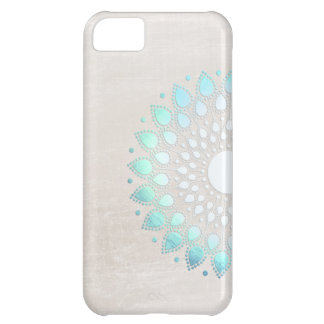 Elegant Light Blue Green Flower Motif Marble Look iPhone 5C Case