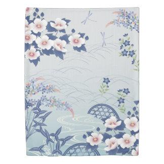 Elegant Light Blue Japanese Flower Garden Duvet Cover