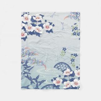 Elegant Light Blue Japanese Flower Garden Fleece Blanket