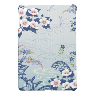 Elegant Light Blue Japanese Flower Garden iPad Mini Case