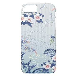 Elegant Light Blue Japanese Flower Garden iPhone 8/7 Case